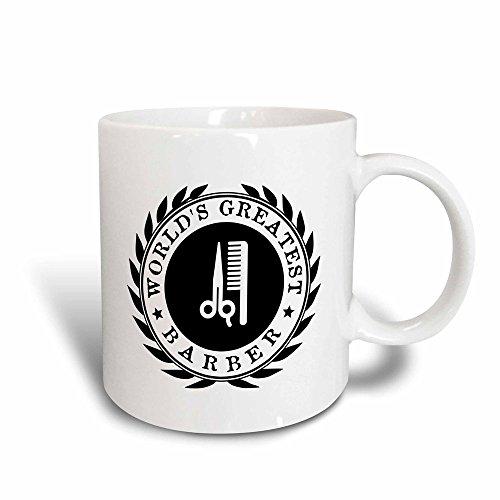 3dRose Mug Worlds Greatest Barber - Hairdresser job pride - black badge graphic (mug_164999_3) - 11oz - Transforming, Black/White
