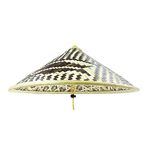 Sunnyhill(TM) Chinese Oriental Bamboo Straw Cone Garden Fishing Hat Adult Rice Hat (Style2)