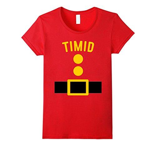 Seven Dwarfs Halloween Costume (Womens Timid Dwarf Costume T-Shirt Funny Halloween Gift Medium Red)