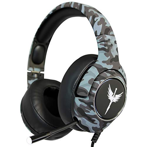 RAIKKEN Stereo Gaming Headset Xbox One, PS4, PC Compatible with Mic, Noise Cancelling Camo Headphones with LED Lights, High Performance Retractable Microphone for Chat, Supports Nintendo Switch & Mac (Best Stereo Headset With Mic)