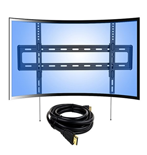 Loctek Curved Panel Low Profile Fixed TV Wall Mount Bracket for 32-70 inch LED, LCD, OLED, Plasma Curved and Flat Screen TVs with VESA patterns up to 600 x 400