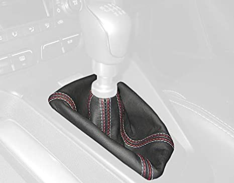 2b1059a189d66 RedlineGoods shift boot (ST 6-spd 2011-14) compatible with Ford Focus Mk3  2011-18. Black perforated leather-Silver thread