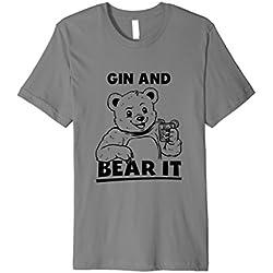 Mens Gin And Bear It T-Shirt - Funny Sayings Gin Tonic Medium Slate