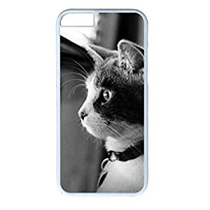 Hard Back Cover Case for iphone 6 Plus,Cool Fashion White PC Shell Skin for iphone 6 Plus with Waiting Cat