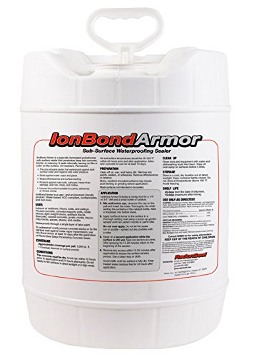 Ion-Bond Armor Industrial Concrete Sealer (5-gals) - Subsurface Waterproofing Sealer | Penetrates Smooth Concrete & Masonry | Use on Fiber-Reinforced Concrete | Penetrates Through Latex Paint (Best Waterproofing For Concrete Slab)
