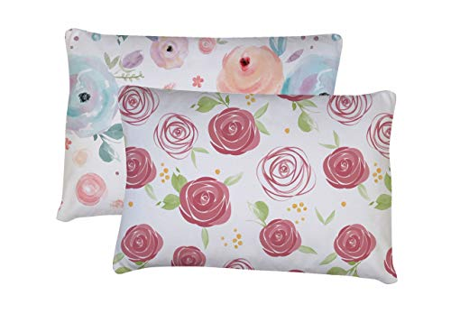 Toddler Pillowcase, 2 Pack- Super Soft Material, Toddler Pillowcase 14x19, Flowers ()