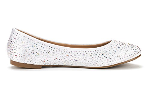 Sole Flats White DREAM Rhinestone Women's Ballet Shoes Shine PAIRS wxERFZ