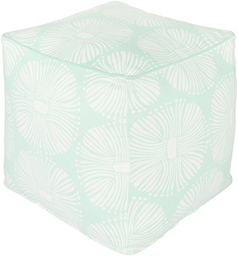 Surya KSPF-006 Kate Spain 100-Percent Cotton Pouf, 18-Inch by 18-Inch by 18-Inch, Mint/Ivory by Surya