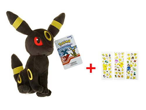 "Umbreon ~9"" Mini-Plush: Pokemon Evolution of Eevee Series with ONE random Pokemon Sticker Gift"