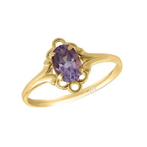 Girl 14K Yellow Gold Oval Shape February Birthstone Genuine Amethyst Ring (size 5 1/2) by Loveivy