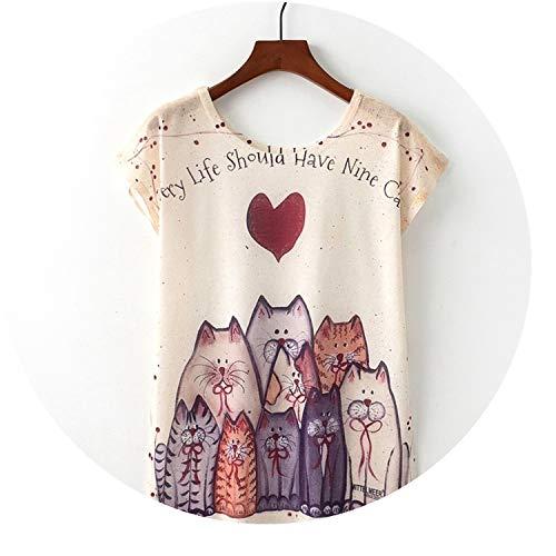 de42f9241c4a Summer Novelty Women T Shirt Nice Cat Print T-Shirt New Short Sleeve Tops  Size
