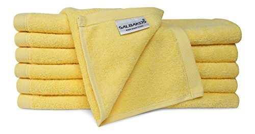 SALBAKOS Luxury Hotel & Spa Turkish Cotton 12-Piece Eco-Friendly Washcloth Set Bath, Yellow by SALBAKOS