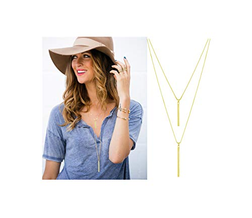 - JYJ Women's Layered Long Necklaces for Women Double Layers Choker Necklace Hammered Bar Pendant Necklace for Summer (Gold-Round Bar)
