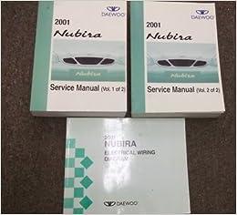 2001 daewoo nubira service shop repair manual set oem (2 volume set, and  the electrical wiring diagrams manual ): daewoo: amazon com: books