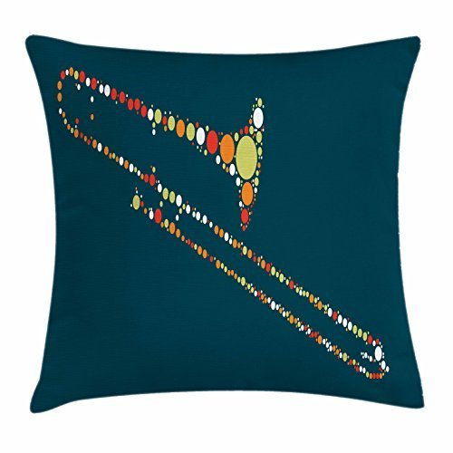 FunnyLife Trombone Throw Pillow Cushion Cover, Abstract Posaune Shape Design with Different Color Points Artful Look Music Theme, Decorative Square Accent Pillow Case Multicolor