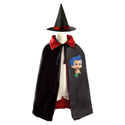 Bubble Guppies Gil Halloween Costumes Decoration Cosplay Witch Cloak with Hat (Black)