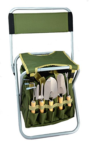Backrest Set (10-piece Gardening Tool Set with Zippered Detachable Tote and Folding Stool Seat with)