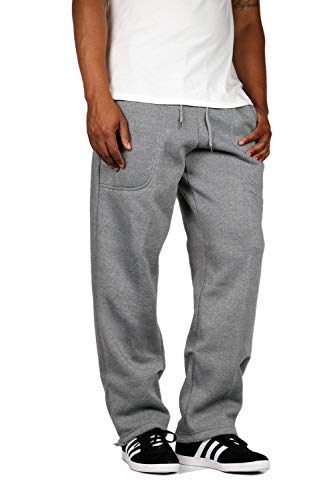 Mersenne Men's Premium Open Bottom Fleece Sweatpants Heavyweight S-3XL (M, - Sweatpant Heavyweight Open Bottom
