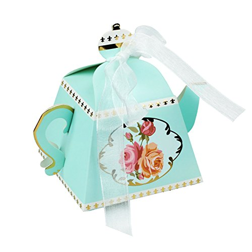 (Vlovelife 12pcs Blue Teapot Shape Party Favor Boxes Ribbon Tea Theme Decorations Candy Boxes Tea Time Whimsy Collection Creative Paper Candies Gift Boxes)