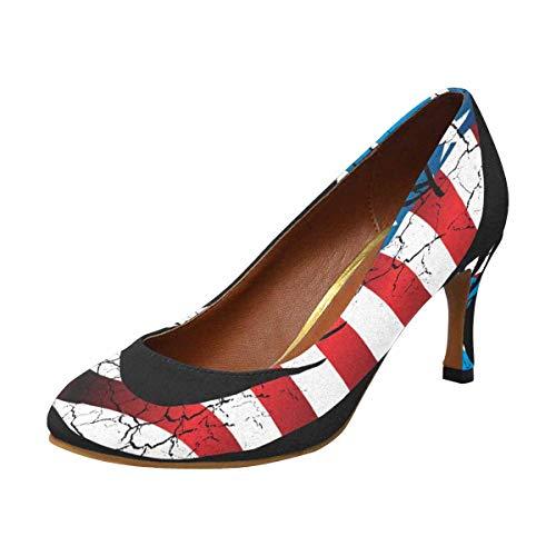 INTERESTPRINT Classic Dress Pumps Soft Walking High Heels American Flag Eagle Head 9 B(M) US
