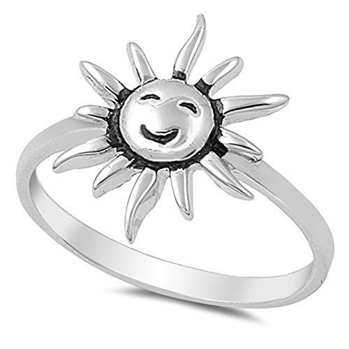 Smile Sun Happy Day Girlfriend Cute Ring New 925 Sterling Silver Band Size 7