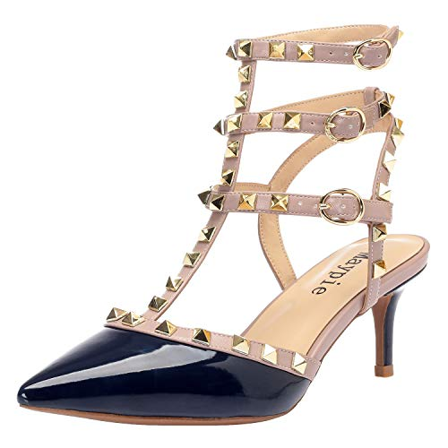 (MAYPIE Women's Sexy Pointed Closed Toe Rivets Studded Ankle T-Strap 2.36 Inches Kitten Low Heel Pumps, Blue Patent, 7 B(M) US)