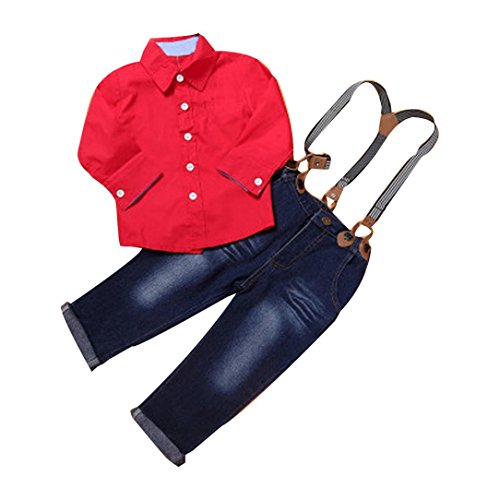 [Misaky Kids Toddler Boys Handsome Red Shirt+Braces Trousers Outfits (115CM(Age:6T), Red)] (Denim Romper Costume)