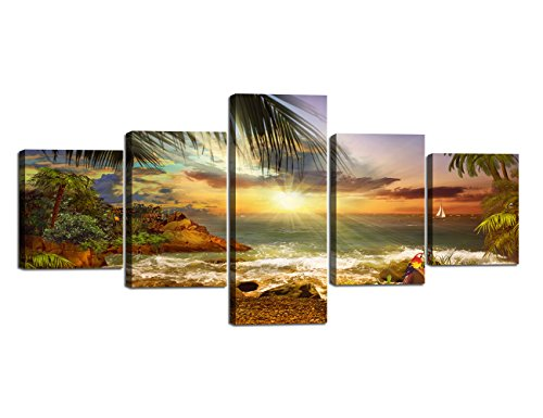 Beach Waves Palm Sunset Landscape Picture Modern Painting on Canvas 5 Piece Framed Wall Art for Living Room Bedroom Kitchen Home Decor Stretched Gallery Canvas Wrap Giclee Print (50''W x 24''H)