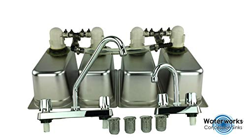 Standard 4 Compartment Sink Set With Drain Trap - Concession Stand Food Trailer ()