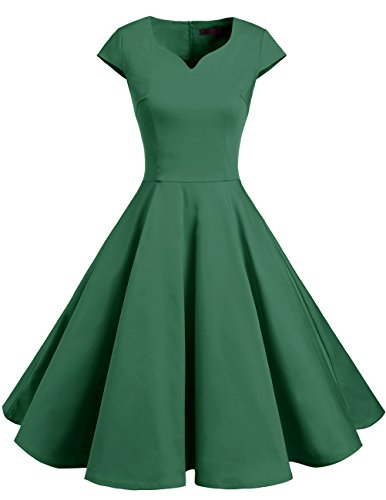 DRESSTELLS Retro 1950s Solid Color Cocktail Dresses Vintage Swing Dress With Cap-Sleeves Green - Womens Vintage
