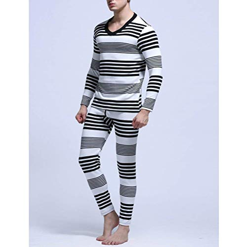 Cami Mens Thermal Ropa Invierno Underwear Warm Negro Capas Set Stripe Base Cotton I1wxAdvd