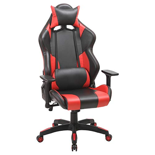 Gaming Swivel Leather Office Arm Chair- Ergonomic Computer High Back Chair (Red)
