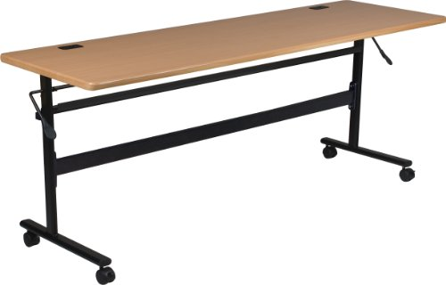 MooreCo Essentials Flipper Training Table 72x24 Teak Top Black Base (90094) by MooreCo (Image #7)