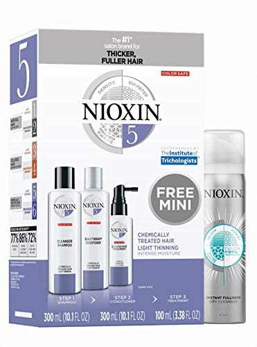 Nioxin Hair System Care Kit 5 with Instant Fullness Dry Cleanser, Peppermint Oil, 4.52 oz. (Nioxin Hair System Kit)