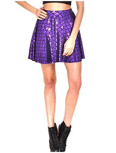 Abetteric Womens Stylish Plus-Size High Waist Fish Scales Skater Skirt