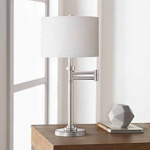 (Modern Swing Arm Desk Table Lamp Brushed Nickel White Horizontal Pleated Drum Shade for Living Room Bedroom Bedside Nightstand Office Family - Possini Euro Design)