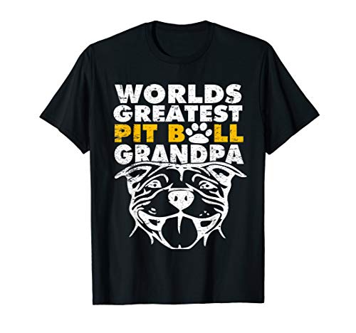 Worlds Greatest Pit Bull Grandpa - Dog Lovers Dad Tshirt