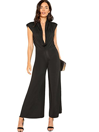 DIDK Women's Sexy Deep V Neck Jumpsuits Cowl Neck Wide Leg Romper Black S (Cowl Neck Jumpsuit)