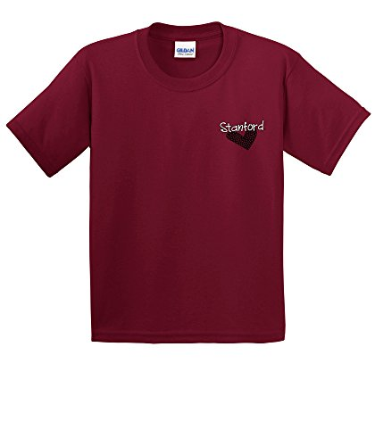 NCAA Stanford Cardinal Youth Patterned Heart Short Sleeve Cotton T-Shirt, Small,Cardinal