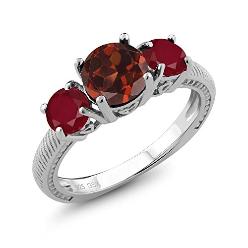 (2.40 Ct Round Red Garnet Red Ruby 925 Sterling Silver 3 Stone Ring (Size 7))
