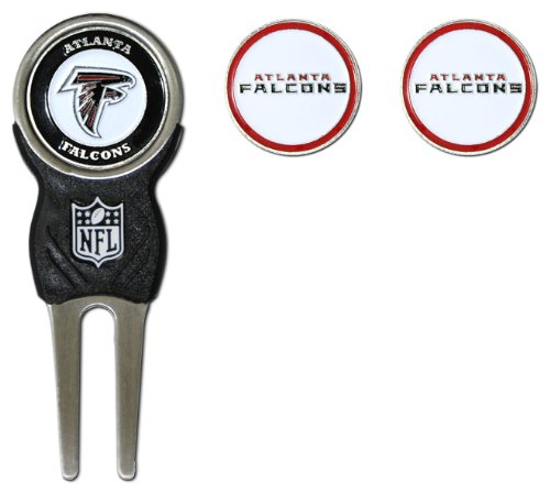 Team Golf NFL Atlanta Falcons Divot Tool with 3 Golf Ball Markers Pack, Markers are Removable Magnetic Double-Sided Enamel