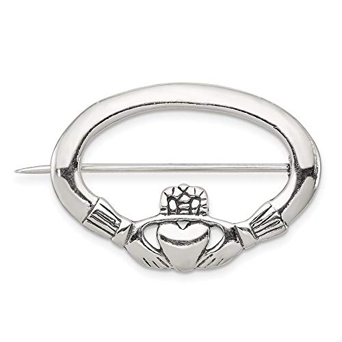 - 925 Sterling Silver Irish Claddagh Celtic Knot Pin Necklace Pendant Charm Fine Jewelry Gifts For Women For Her