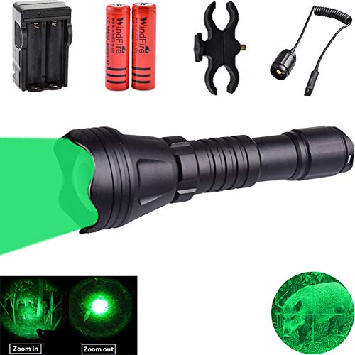 WINDFIRE WF-158 Green Light Hunting Flashlight Zoomable Coyote Hunting Predator Light for Night Hunting Hog Varmint with Remote Pressure Switch,Scope Mount,18650 Batteries