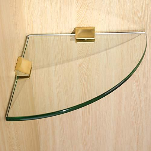 Adjustable Frameless Rectangle Glass Shelf Bracket Holder Heavy Duty Clamp Shelf Clip,Stainless Steel 304,Brushed Gold ()