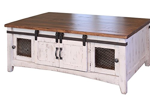 Bon Greenview White Solid Pine Coffee Table, Two Sliding Doors
