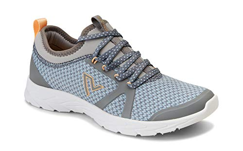 Vionic Women's Brisk Alma Lace-up Sneakers - Ladies Walking Shoes with Concealed Orthotic Arch Support Grey and Blue 6.5 W US