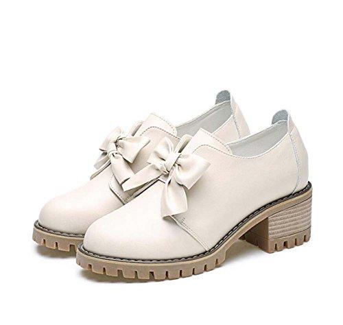 Bomba 5cm Chunkly tacón Bowknot zapatos de cuero Mujer simple punta redonda Pura pajarita de color suave suela estudiante Snakers 2017 otoño nuevo Eu Tamaño 34-40 ( Color : Beige , Size : 38 )