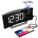 Digital Alarm Clock, Projection Alarm Clock, 5'' Large Curved LED Display, 6 Dimmer