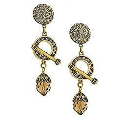 Women's Toggle Crystal Clip Earrings