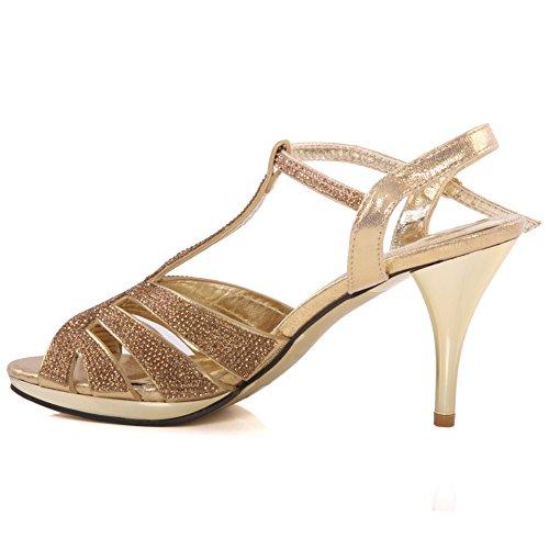 Unze Womens 'Diyana' adornó las sandalias del estilete del partido de boda tamaño BRITÁNICO 3-8 Gold